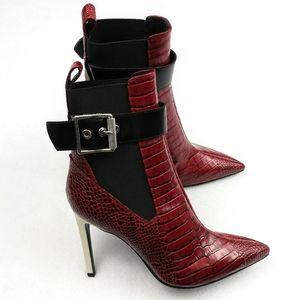 Rag & Bone NEW Wren Boots/Booties Red Croco Sz 38